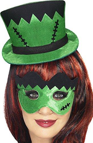 kies Mini-Hut auf einem Stirnband und Augenmaske Set, grün (Frankie Erwachsenen Kostüme)