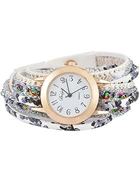 SSITG Damenuhr Armbanduhr Quarzuhr Wickelarmband Analog Watch Retro Blumen