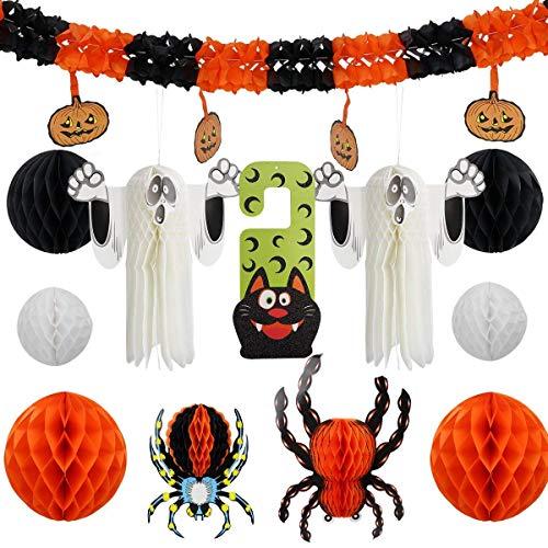 lujiaoshout 12st Halloween Partydekoration Set bestehend aus Honeycomb 3D Wand Spinne Geist und Trick or Treat Tür Verzierungen für Halloween-Dekor