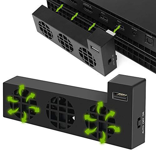 Ventilateur de Refroidissement pour Xbox One X,Cooling Fan avec 3 Refroidisseur Ventilateur Super Turbo et Externe USB Port Auto Contrôle de la Température Refroidisseur pour Xbox One X Jeu Console