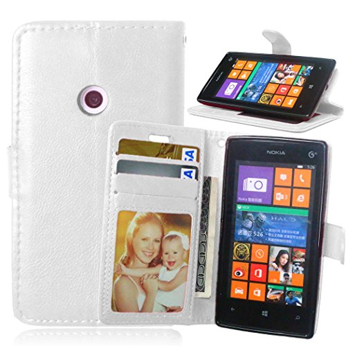 Telefon Kasten für Nokia Microsoft Lumia 520 ,Bookstyle 3 Card Slot PU Leder Case Interner Schutz Schutzhülle Handy Taschen-Weiß (Nokia Telefon-kasten 520 Lumia)