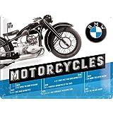 Nostalgic Art BMW Timeline - Placa decorativa, Metal, 30 x 40 cm, Color Azul y Negro
