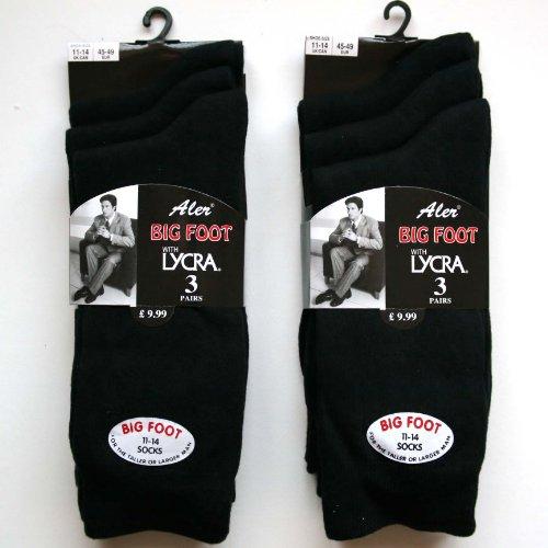 6 pairs Lycra Bigfoot Mens Black Socks.