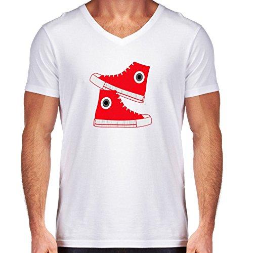 T-shirt Bianco scollo a V Uomo - Taglia S - Cestini by les caprices de filles