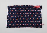 Wärmekissen Körnerkissen Dinkelkissen Herzen Rot auf Blau ca. 30x20cm