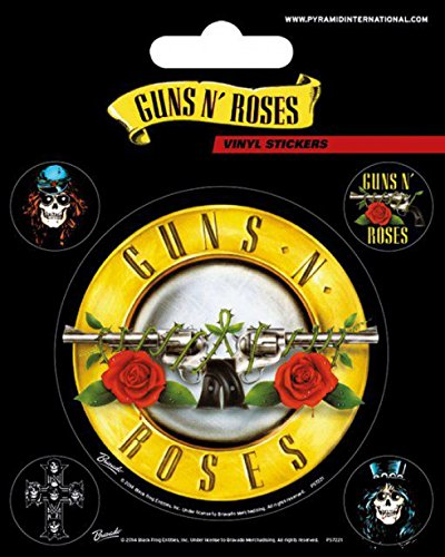 1art1 80743 Guns N' Roses - Bullet Logo, Vinyl Sticker Set Poster-Sticker Tattoo Aufkleber 12 x 10 cm (Tattoo Aufkleber Gun)