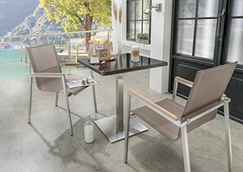 Destiny Gartenset Altos Polywood Balkonset mit Cube Granit Gartentisch 70x70 Edelstahl