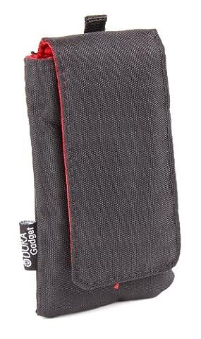 Kompakte Tasche für Smartphones (Farbe: Schwarz / Rot) für Nokia Lumia N9, N8, 6303i, 2720 Fold,