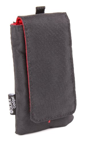 Jet Black Cushioned Music Player Case / Pouch With Red Interior Lining - For the Bush Handheld Portable DAB Radio - by DURAGADGET