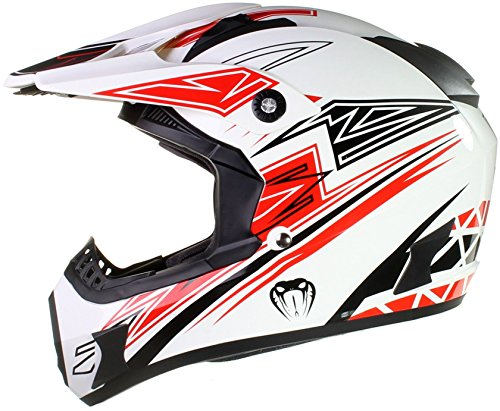 Qtech Viper Casco protector para motocross / todoterreno / enduro / MX - Negro / rojo / naranja / azul - Rojo - L (59-60 cm)