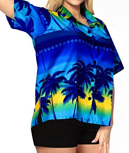 La Leela Soft Likre Acqua Palme Lässig Strand Hawaiische Hemd Blau Blue 1