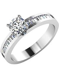 IskiUski White Gold And American Diamond Ring For Women - B075VH9QQ7