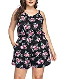 SELUXU Women's Jumpsuit Plus Size Ladies Floral Printed V-Neck Suspenders Shorts Jumpsuit Holiday Mini Playsuit with Pockets XL-4XL