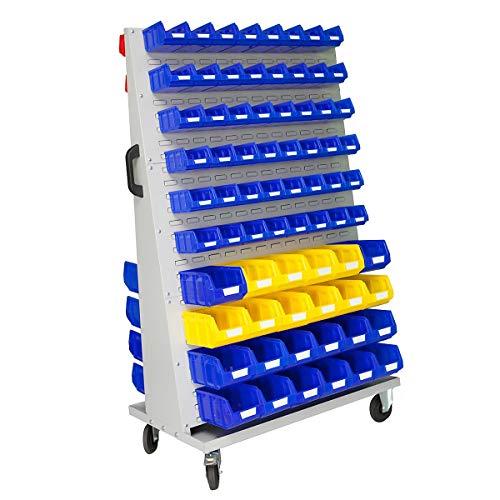 Jeu de bacs à bec - pour rayonnage mobile h x l x p 1700 x 1053 x 600 mm - 48 bleus (1 l) + 48 rouges (1 l) + 38 bleus (4,5 l) + 10 jaunes (4,5 l) - Bac Bac de stockage Bac à bec Bac à vis Bacs Bacs de stockage Bacs à bec Bacs à vis Conteneur de stockage à