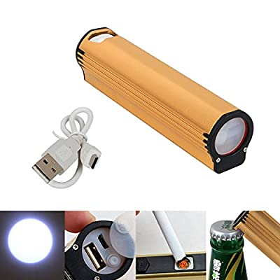 Portable C17 LED Flashlight Torch Camp Lamp Electronic Cigarette Lighter Phone Power Bank USB Charging Bottle Opener Rechargeable
