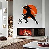 Vinyl Wandtattoo Ninja Shinobi Diversionist Japanisch Kampfkünste Sportklub Emblem Kampfsport-Club Logo Wandaufkleber Wandsticker Fototapete Wanddekoration für Kinderzimmer Jugendzimmer Geschenk A518