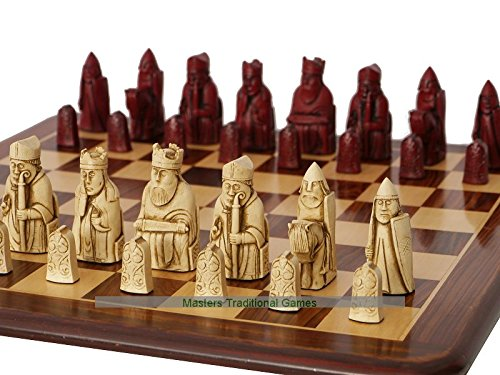 Berkeley Isle of Lewis Chess Set (Cream and red, no Board)