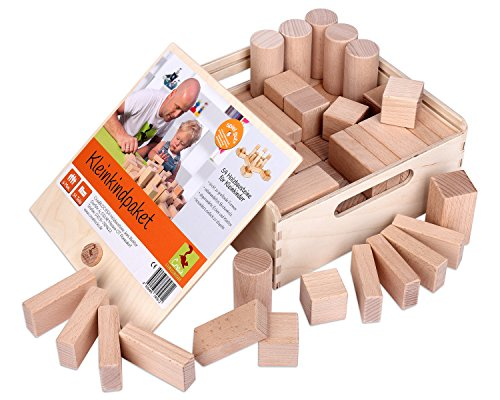 CreaBLOCKS Holzbausteine natur Kleinkindpaket 54 unbehandelte Bauklötze ab 6 Monate Made in Germany