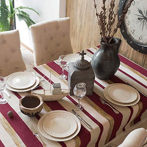 LSJT Einfache nordische Gestreifte mediterrane Baumwolle Tischdecke rechteckige Tischdecke (Farbe :...