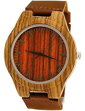 Henny Klein designer Damen Herren Öko Natur Holz Rinder Leder Armbanduhr Uhr in Braun