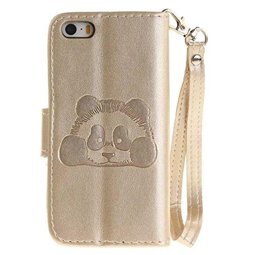 Etsue Handytasche für iPhone 6 Plus/6S Plus (5.5 Zoll) Blau, Brieftasche Hülle für iPhone 6 Plus/6S Plus (5.5 Zoll) [Wald Baum] Muster Lederhülle Handyhülle Einzigartig Flip Hülle Leder Schutzhülle Vi Karikatur Panda,Golden