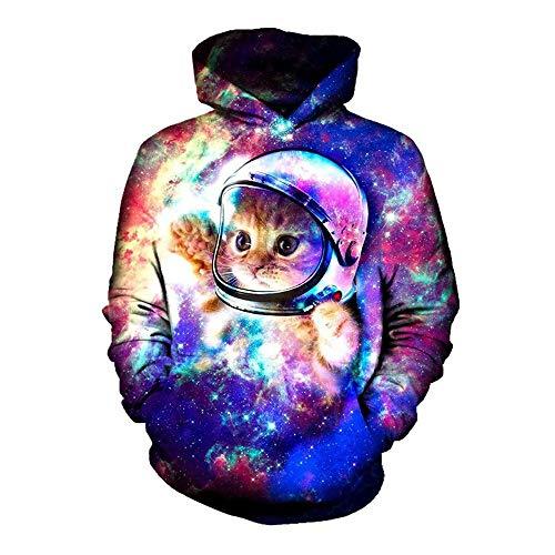 SWEAAY Tops 3D Printed Space Astronaut Kätzchen Katze Sweatshirt Outfits Langarm Pullover Hoodies Plus Größe, XXL