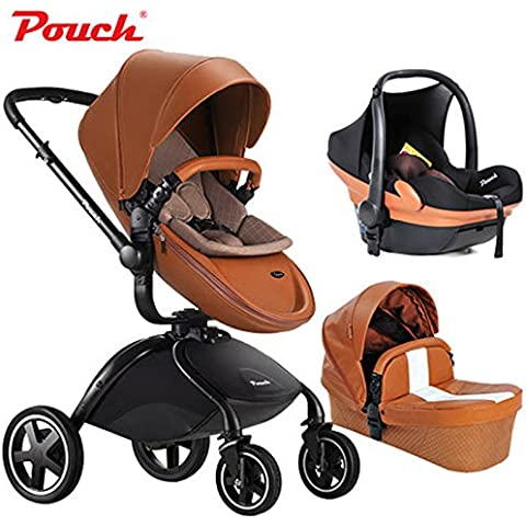 Luxury PU Leather Baby Stroller Pram Passeggino 3 in 1 Travel System, Push Chair + + Car Seat, carrycoat High View, Folding, Bidirectional - Modulare Pouch