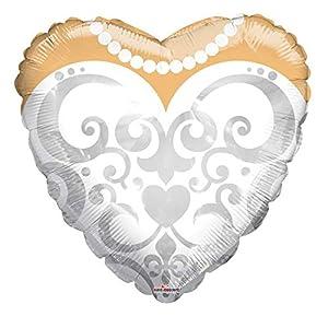 Bargain Balloons Globo Mylar con Forma de Corazón con Vestido de Novia, Color Blanco, Ø 45cm, 15479-18
