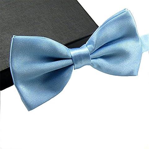 GSCH Mode Nœuds Papillon Cravate Tie Taille Reglable Mariage Soirée Busines pour homme Pure couleur (Bleu ciel)