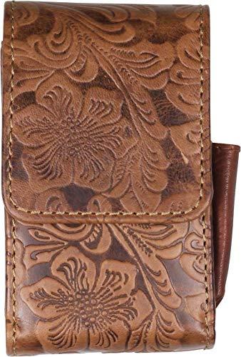 Packungsetui Flowerprint Leder Braun Vintage für Normale Zigarettenpackungen Gr. L und Lange 100 er (Kingsize) 2 Magnetknöpfe Feuerzeugfach außen + beige Steppung - LK Trend & Style