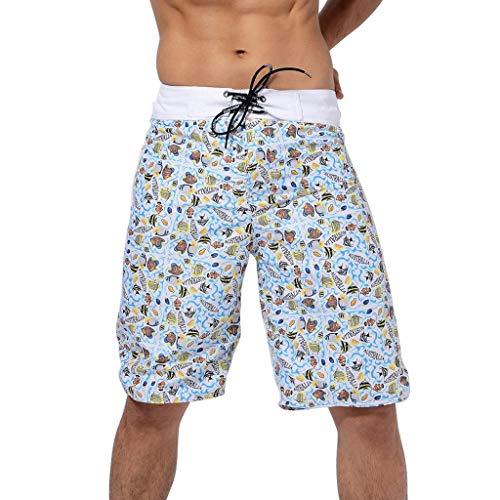 Xmiral Badehose Herren Böhmen Gedruckte Verstellbarem Kordelzug Boxer Strandhosen Schnelltrocknend Kurze Hosen Elastisch Taille Surf Shorts Badeshorts(Hellblau,S)
