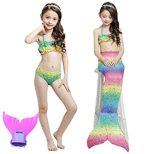 Unbekannt Mädchen Cosplay Kostüm Badebekleidung Meerjungfrau Badeanzug 4.Teile Bikini Sets Tolle Geschenksidee! Lieferung BIS 3. WERKATGE MIT DPD! (140)