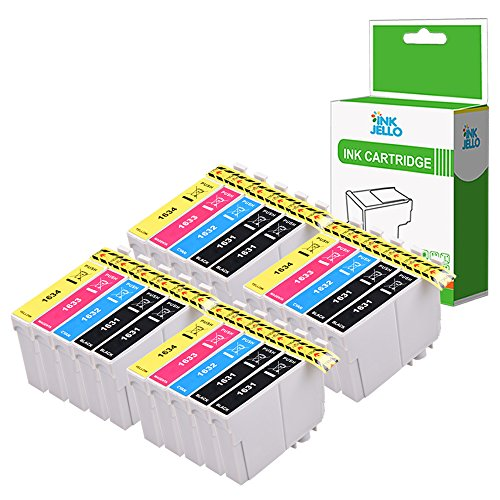 Inkjello cartuccia d' inchiostro di ricambio per Epson WorkForce WF-2010W WF-2510WF WF-2520NF WF-2530WF WF-2540WF WF-2630WF WF-2650DWF WF-2660DWF wf-2750dwf wf-2760dwf 16x L (B/C/M/Y, 20-pack)