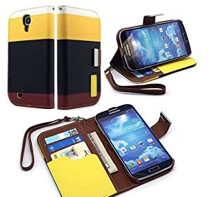 Gioiabazar Samsung Galaxy S4 i9500 Leather Flip Designer Stripe Wallet Case Cover Pouch Table Talk New Black