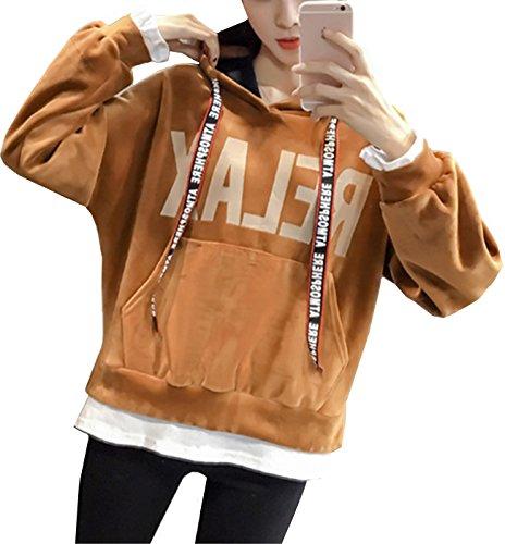 Beunique Femme Sweat-shirt à Capuche Grande Taille Epais Pull Tops À Manches Longues Imprimé Casual Kaki