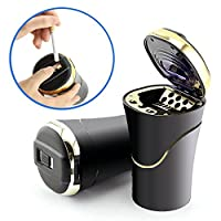 Car Cigarette Lighter Ashtray with USB Charge Cable, Blue LED Light Indicator for Most Car Cup Holder