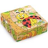 APig 9 Würfel Holzblöcke Puzzle 6 in 1 Puzzlespiele Pädagogisches Holzspielzeug für Kinder 3 4 5 6 Jahre Alt- Insekten