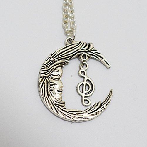 Ciondolo luna e musica nota collana, collana mezzaluna Music note, nota musicale collana luna. Gioielli collana - Musica Nota Charm