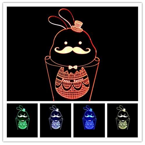Nachtlicht Stil Schnurrbart Kaninchen 3D Illusion Nachtlicht Usb 7 Farbe Blinkende Farbverlauf Led Acryl Schlaflampe Schlafzimmer Home Decration