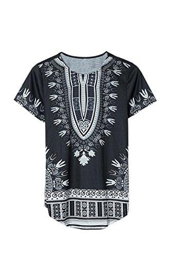 Hombres Tribal Africana Dashiki Camiseta Floral Hipster Hip Hop Tops Black M