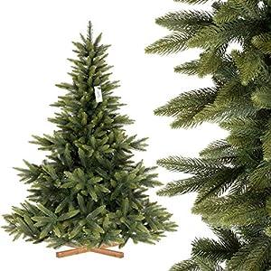 FairyTrees künstlicher Weihnachtsbaum NORDMANNTANNE Premium, Spritzguss & PVC, Ständer aus Holz, 180cm