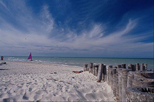 647075-beach-with-sailboat-in-distance-progresso-yucatan-mexico-a4-photo-poster-print-10x8