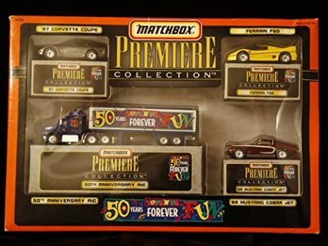 Matchbox Premiere Collection - Limited Edition Set of Four Toys R Us Die-Cast Vehicles - 1997 Corvette Coupe - Ferrari F50 - 1968 Mustang Cobra Jet - 50th Anniversary Rig