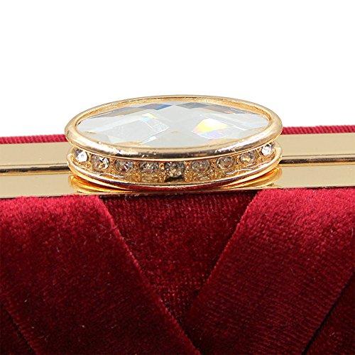 Flada Damen und Damen Flanell Abendtaschen Hochzeit Kupplungen Handtaschen mit Quaste Anhänger schwarz Rotwein rot