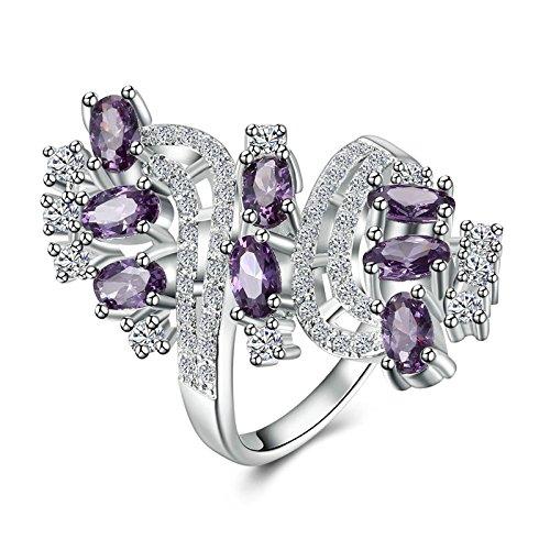 Aeici Damenring Silber 925 Schraubenkaskade Lila Ring 925 Silber Ring Lila Größe 57 (18.1)