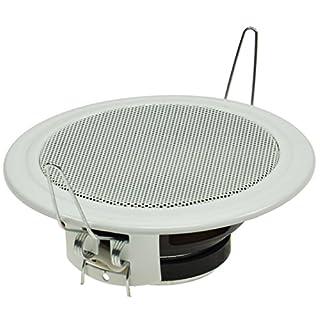 Decken- & Wand Einbaulautsprecher CTE-W Weiß Metallschutzgitter Halteklammern 8 Ohm Einfache Montage (Ø 106mm, 45 Watt, Weiss)