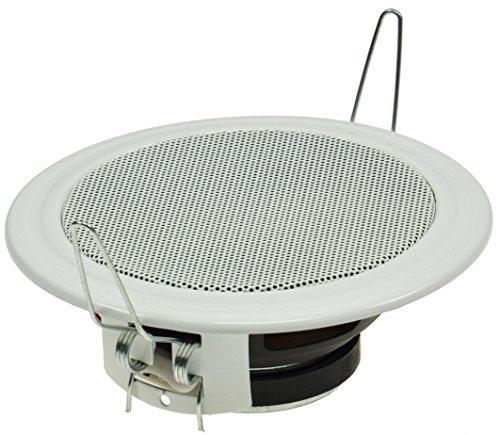 Decken- & Wand Einbau-Lautsprecher Ø 106mm 45 Watt Metallschutzgitter Halteklammern 8 Ohm Einfache Feder-Montage Weiß