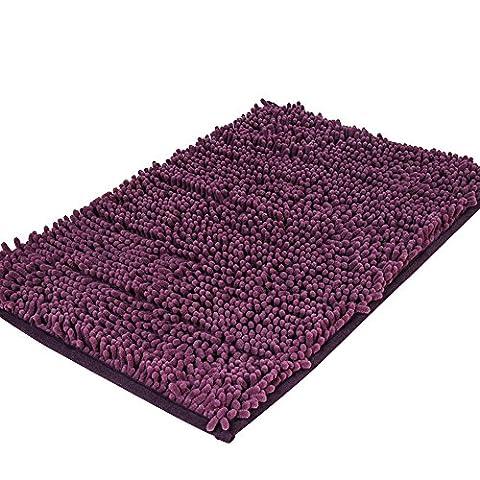 Pingenaneer Tapis de Bain Absorbant Antidérapant / Super Doux Tapis de Douche Tapis Microfibre pour Salle de Bain - 50 x 80 cm(Violet foncé)