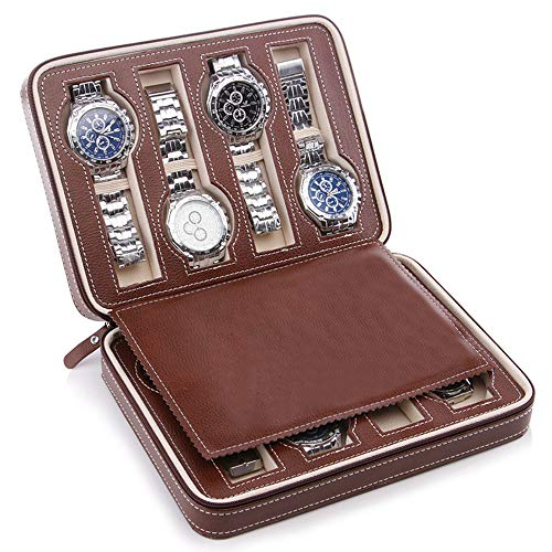 Samhe Caja para Reloj 8 Compartimentos Organizadores y Cajas para Joyas Viaje portátil para Hombres (Marrón-8)