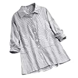 Zegeey Damen T-Shirt GroßE GrößEn Blumenfarbe Kurzarm Rundhals Shirts Bluse Top Oberteil Baumwoll Leinen Tunika Schicker Elegant LäSsige Lose(W4-Grau,EU-46/CN-3XL)